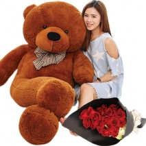 red rose bouquet with 5 feet giant teddy bear