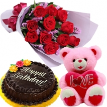 buy roses bouquet with cake bear philippines