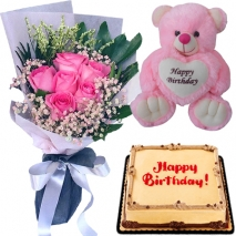 buy pink roses with bear and mocha cake to philippines