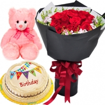 buy marble cake red roses with bear philippines