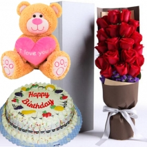 buy rose box fruit cake and bear to philippines