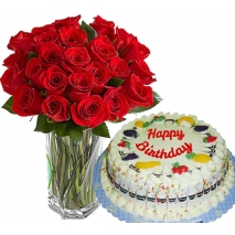 send roses vase with fruity cake to philippines