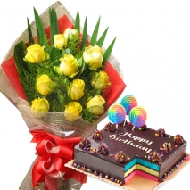 send yellow roses with rainbow cake philippines