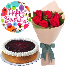 send roses bouquet with blue berry cake and balloon to philippines