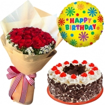 roses bouquet with cake and balloon send philippines