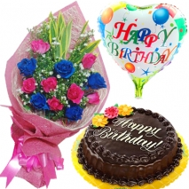 send roses bouquet with cake and balloon philippines
