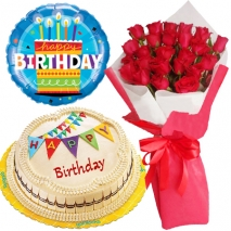 roses bouquet cake and balloon birthday combo