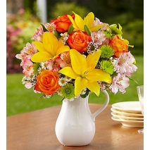 Flowers with White Ceramic Pitcher Delivery To Philippines