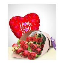12 Red Roses & Love U Balloon Delivery To Philippines