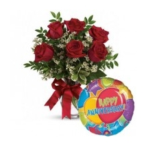 6 Red Roses & Annieversary Balloon To Philippines