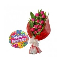 12 Red Roses & Annieversary Balloon To Philippines