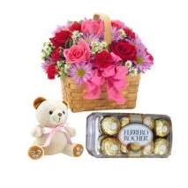 Mixed Color Flowers,Chocolate & Bear Delivery To Philippines