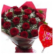 12 Red Roses & Balloon Delivery To Philippines