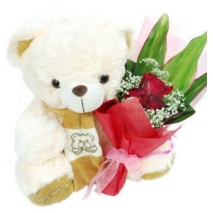 3 Red Roses & White Teddy Bear Delivery To Philippines