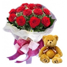 Roses Bouquet & Teddy Bear To Philippines