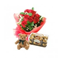 12 Rose,Chocolate & Teddy Bear To Philippines