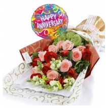 Mixed Roses & Annieversary Balloon To Philippines
