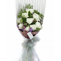 12 White Roses Bouquet Send To Philippines