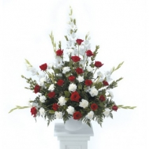 Red and White Arrangement Send To Philippines