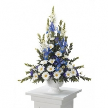 Blue and White Sympathy Arrangement Send To Philippines