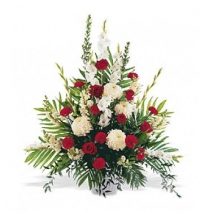 Red and White Spray Arrangement Send To Philippines