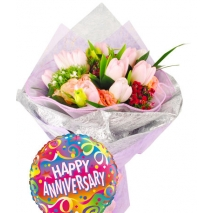 6 pink tulip with balloon philippines