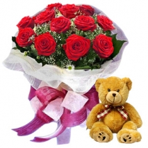 12 Red Roses with small Bear philippines