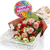 12 pink & red Roses with Balloon philippines