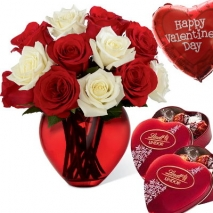 6 red & 6 white rose vase with chocolate & balloon philippines