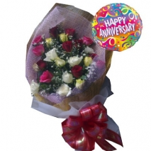 24 red, yellow,white Roses with balloon philippines