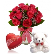 Red Rose vase,Mini White Bear with Lindt Chocolate To Philippines
