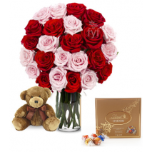 Red & Pink Rose vase,Brown Bear with Lindt Chocolate To Philippines