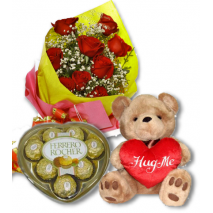 12 Red Rose bouquet,Ferrero chocolate box With Bear To Philippines