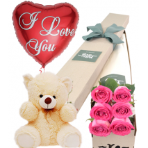 Pink Roses Box,Pink Bear with I Love U Balloon Send To Philippines