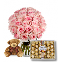Pink Rose vase,Ferrero Rocher chocolate box with mini Bear To Philippines