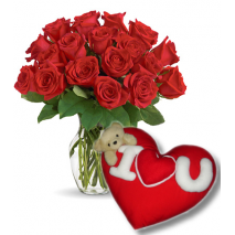 24 Red Roses Vase with Wesley Pillow Send To Philippines