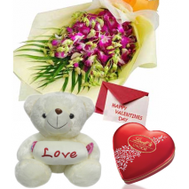 Mixed Flowers Bouquet,Pink Bear with Lindt Chocolate Send To Philippines