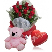 Red Rose bouquet,Pink Bear with Lindt Chocolate box To Philippines