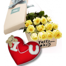 12 Yellow Roses Box with Wesley Heart Shape Pillow Send To Philippines