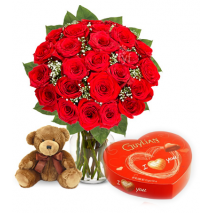 Red Rose vase,Small Brown Bear with Guylian Chocolate To Philippines