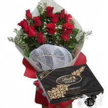 12 Red Roses with Lindt Lindor Extra Dark To Philippines