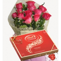 12 Red Roses with Lindt Lindor Milk Chocolate To Philippines