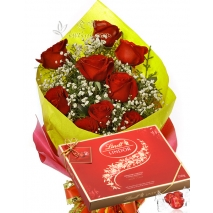 12 Red Roses bouquet with Lindt Chocolate To Philippines