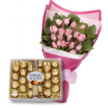24 Pink Roses bouquet & 24 pcs Ferrero chocolate To Philippines