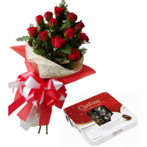 12 Red Roses Bouquet with Guylian Belgian Chocolate Box Send To Philippines