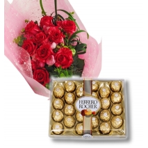 12 red Roses with 24 pcs Ferrero chocolateTo Philippines