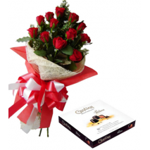 12 Red Roses Bouquet with Guylian Belgian Chocolates Send To Philippines