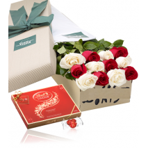12 White & red Roses Box with Lindt Chocolate Send To Philippines