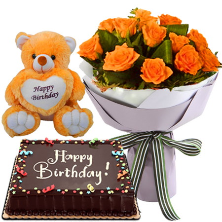 Excellent Online 12 Orange Roses Bouquet With Red Ribbon Chocolate Cake Funny Birthday Cards Online Inifofree Goldxyz