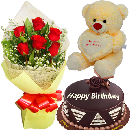 Online 6 Pieces Red Roses Bouquet With Chocolate Cake All About